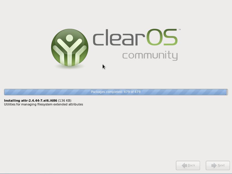 ClearOS 6.3 installation in progress