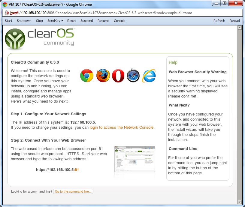 Welcome screen ClearOS 6.3