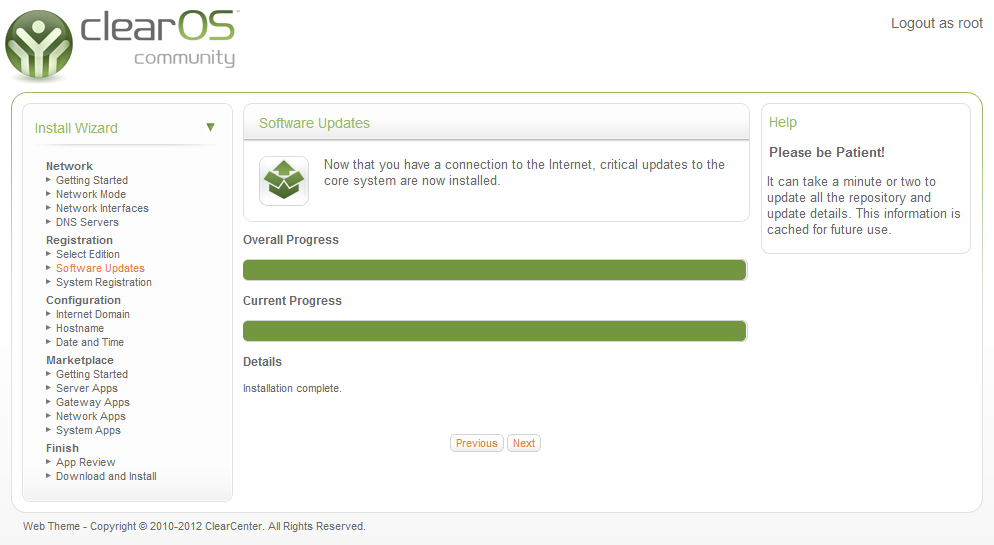 Software updates install progress