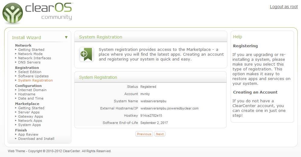 System registration registered