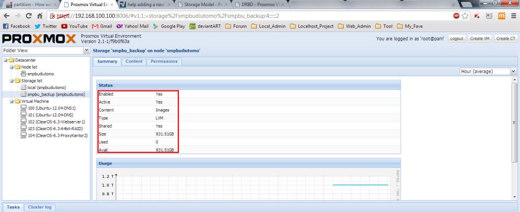 Hasil akhir penambahan hardisk Proxmox VE