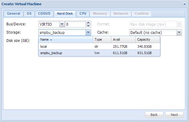 Create virtual machine hardisk storage