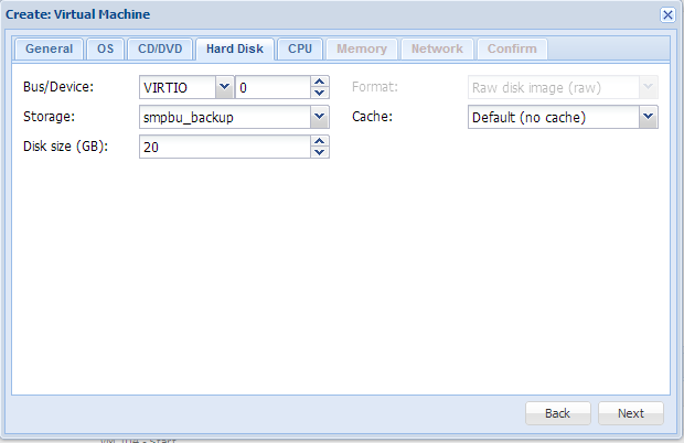 Create virtual machine disk size