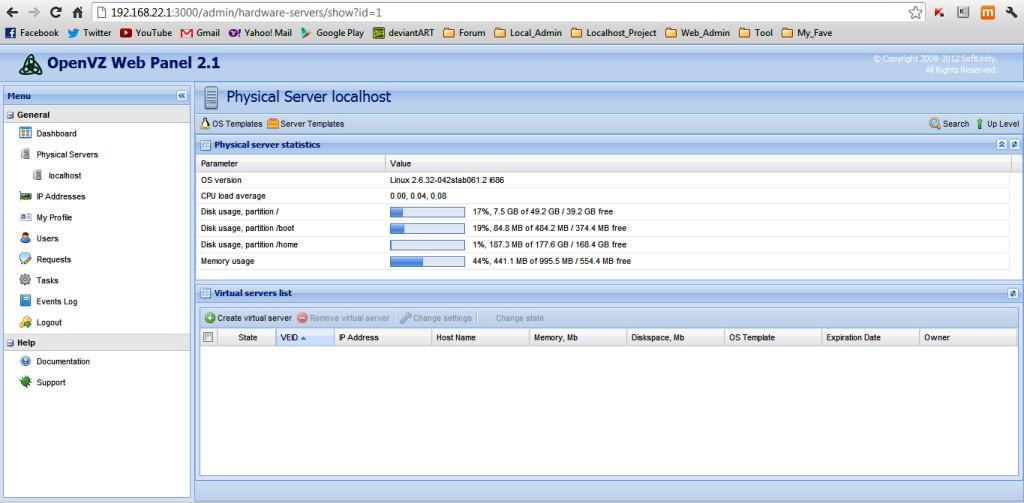 OpenVZ Web Panel running