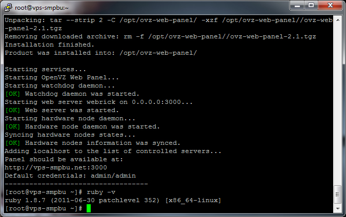 OpenVZ Web Panel Successflly Installed