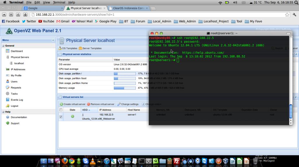Running OpenVZ Web Panel 2.2