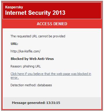 sites blocked by kaspersky