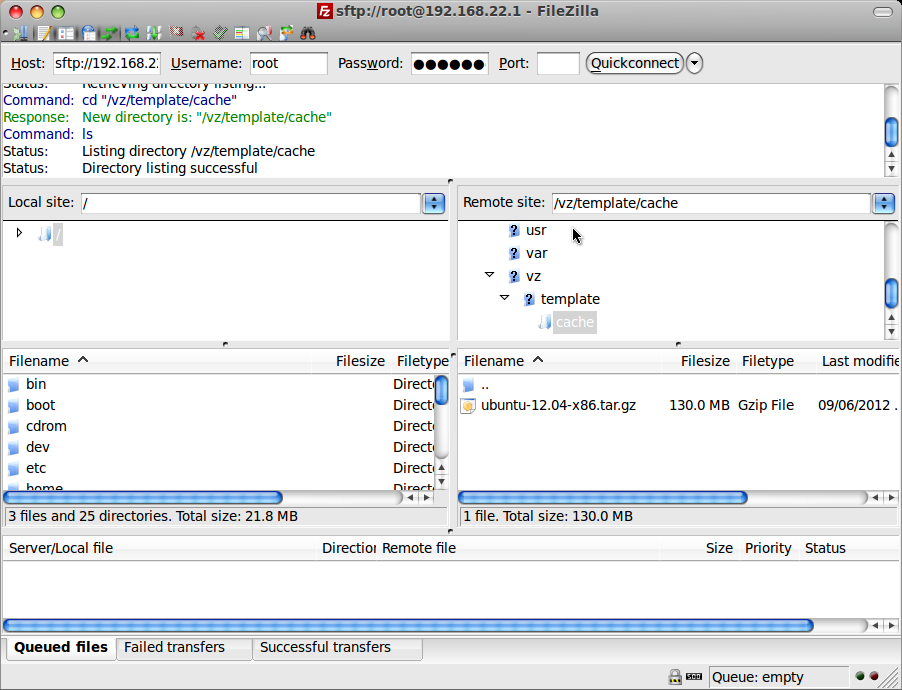 Upload OpenVZ template
