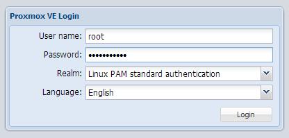 login to proxmox