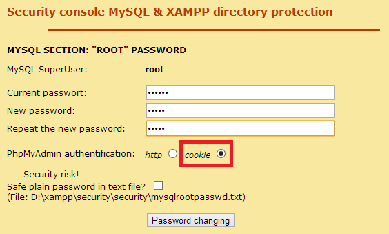 mysql password changing
