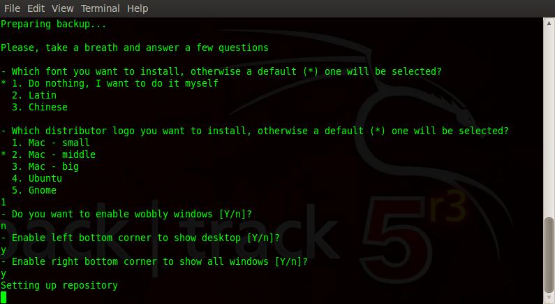 Options install macbuntu backtrack 5R3