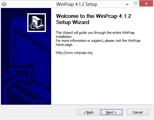 winpcap start setup