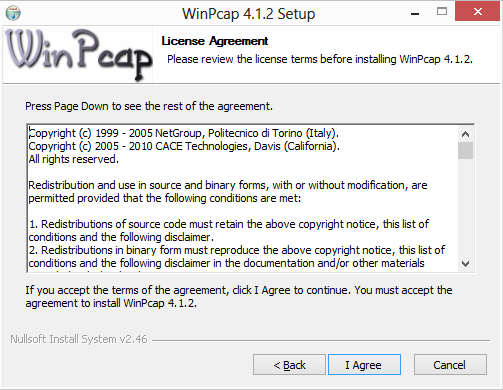 winpcap license agreement