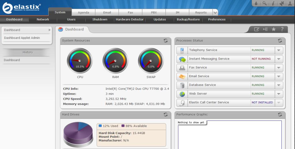 elastix 2.4.0 dashboard