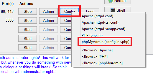 phpmyadmin config inc php