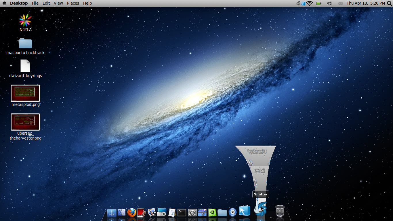 Mac OSX themes Backtrack 5R3 in action