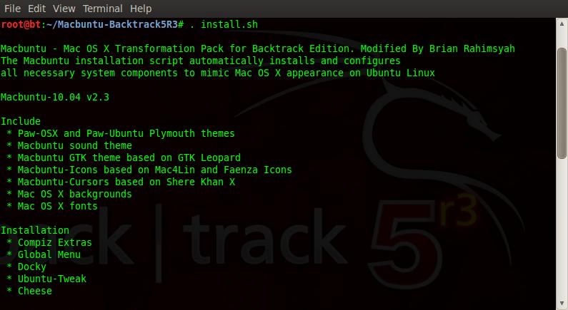 install macbuntu Backtrack 5R3