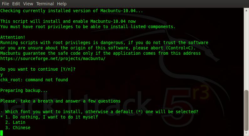 select 1 to install macbuntu backtrack