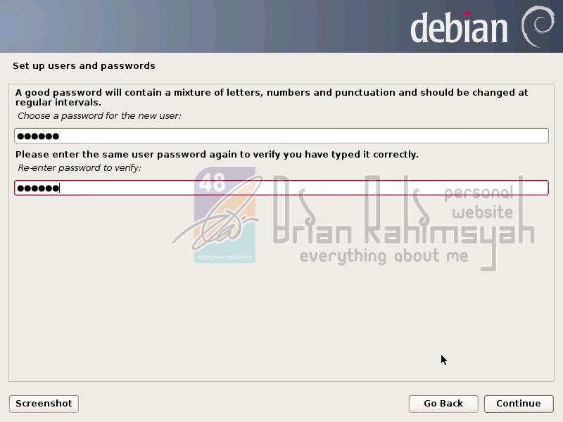 Debian 7 new user password