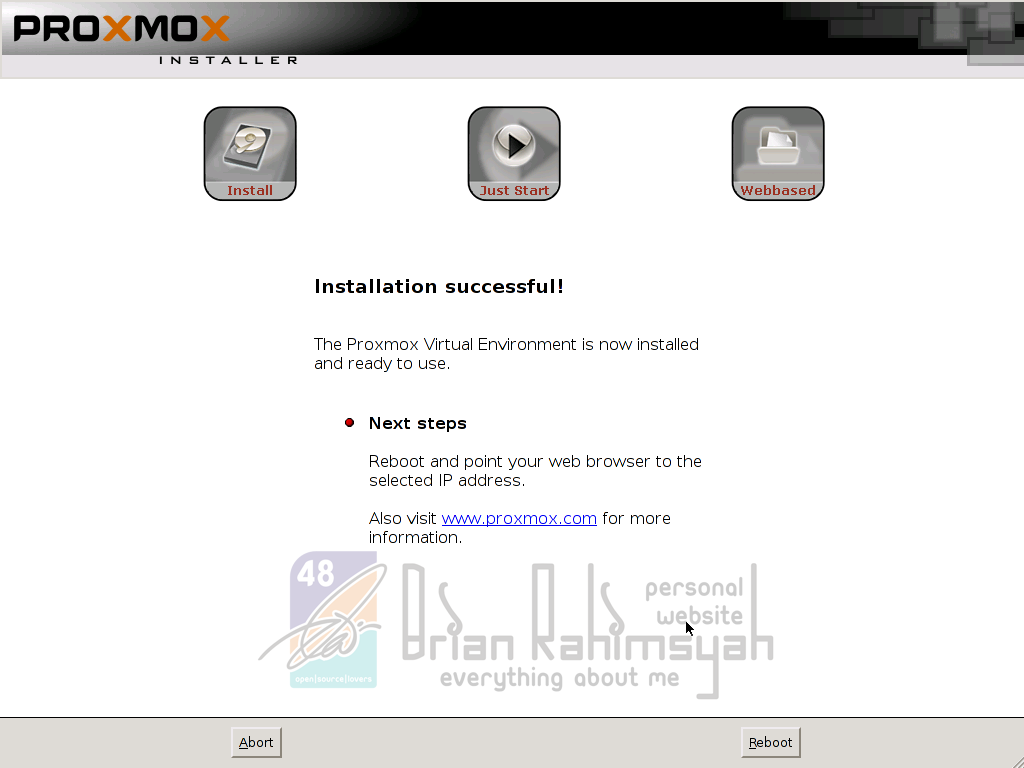 Proxmox 3.0 installation complete