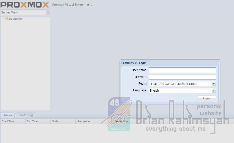 login to proxmox webconfig
