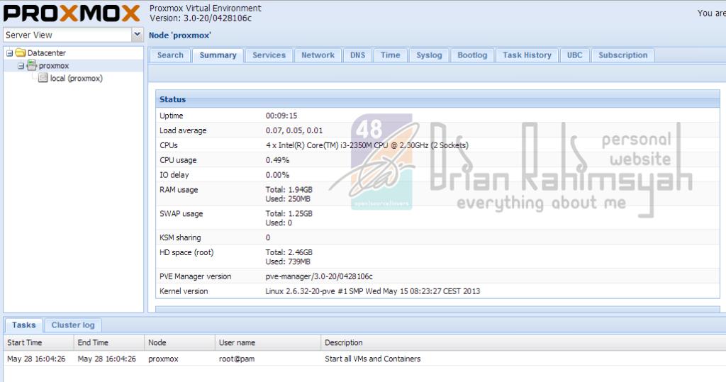 proxmox webconfig summary