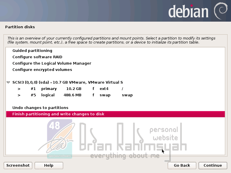 Debian 7 finish partition disk