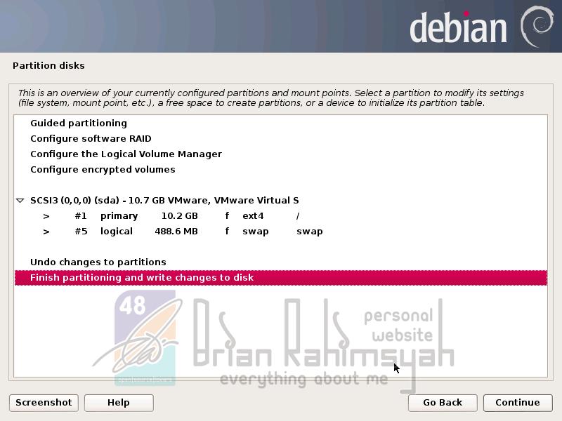 Debian 7 finish partition disk