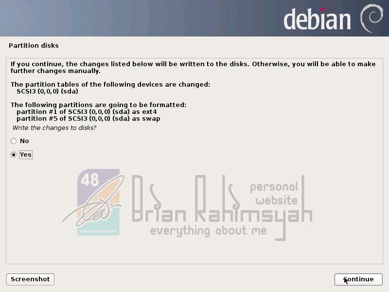 Debian 7 write changes yes
