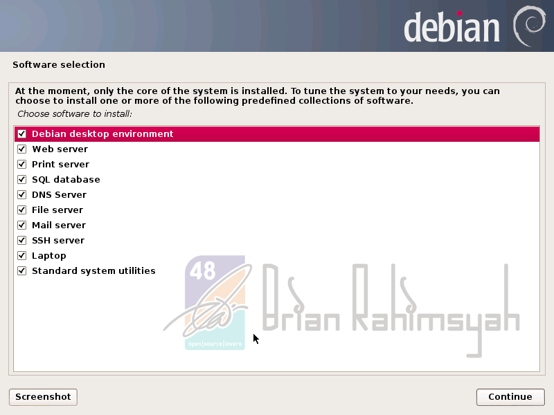 Debian 7 software selection