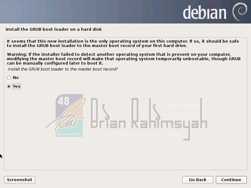 Debian 7 installing GRUB bootloader
