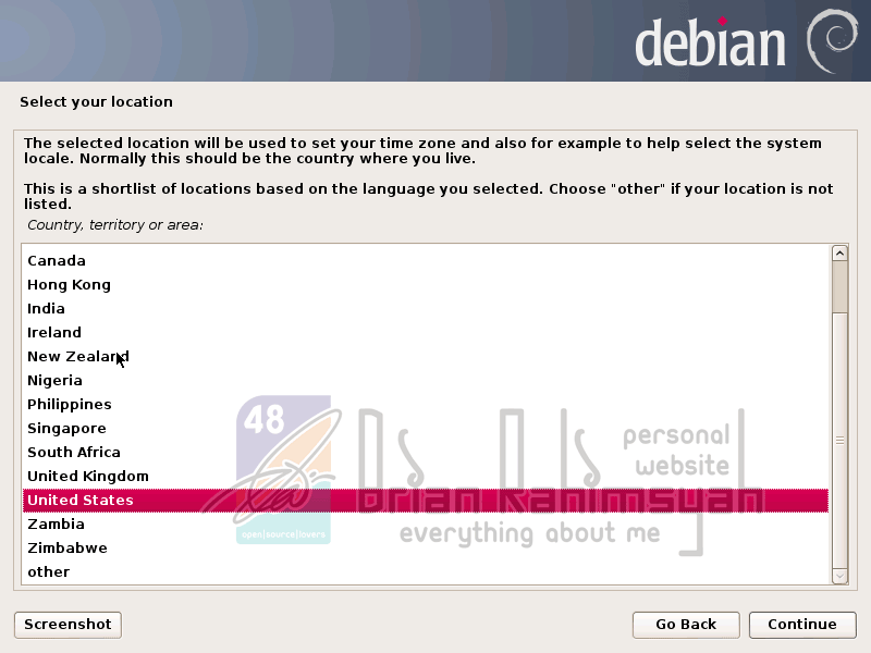Debian 7 select your location