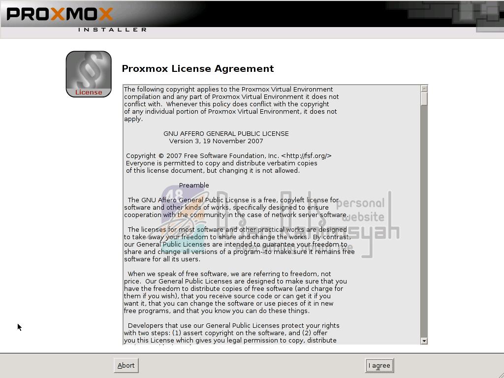 Proxmox 3.0 Agree term condition