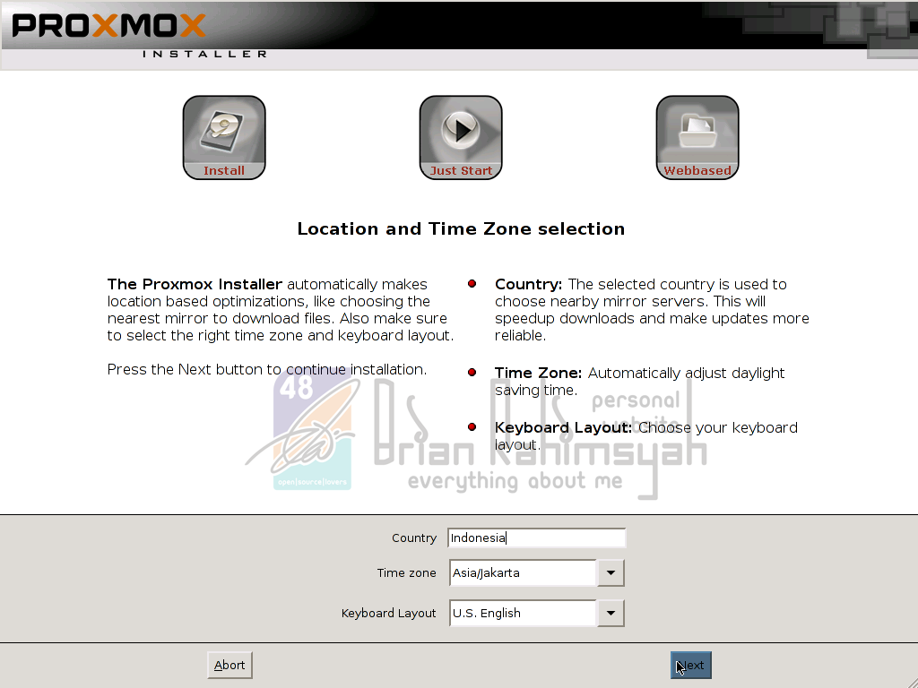 Proxmox 3.0 Location and timezone