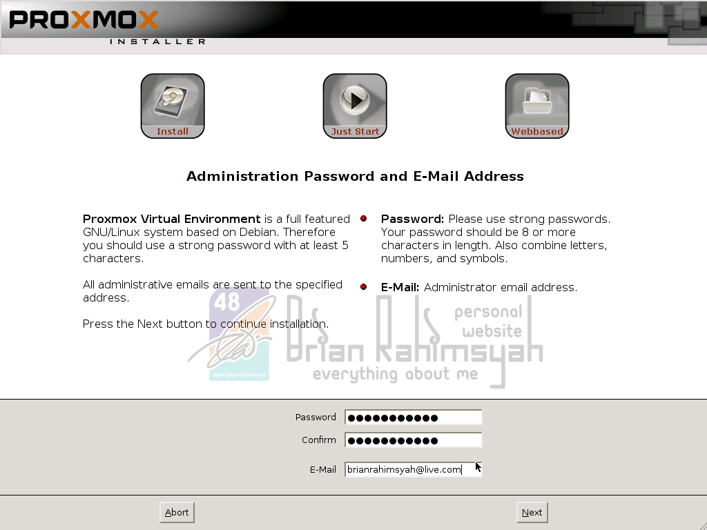 Proxmox 3.0 insert admin password