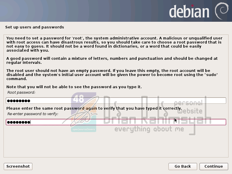 Debian 7 setup root password