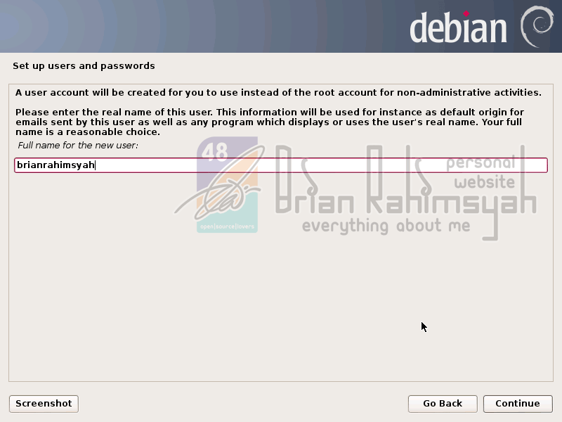 Debian 7 fullname new user