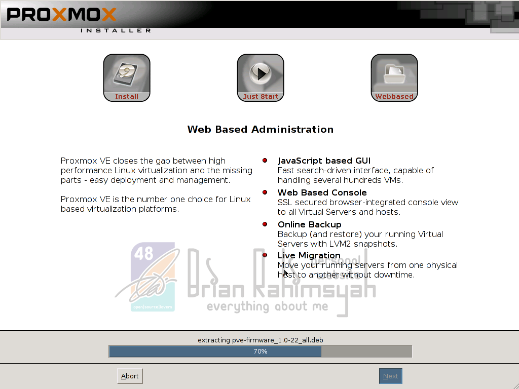 Proxmox 3.0 installation process