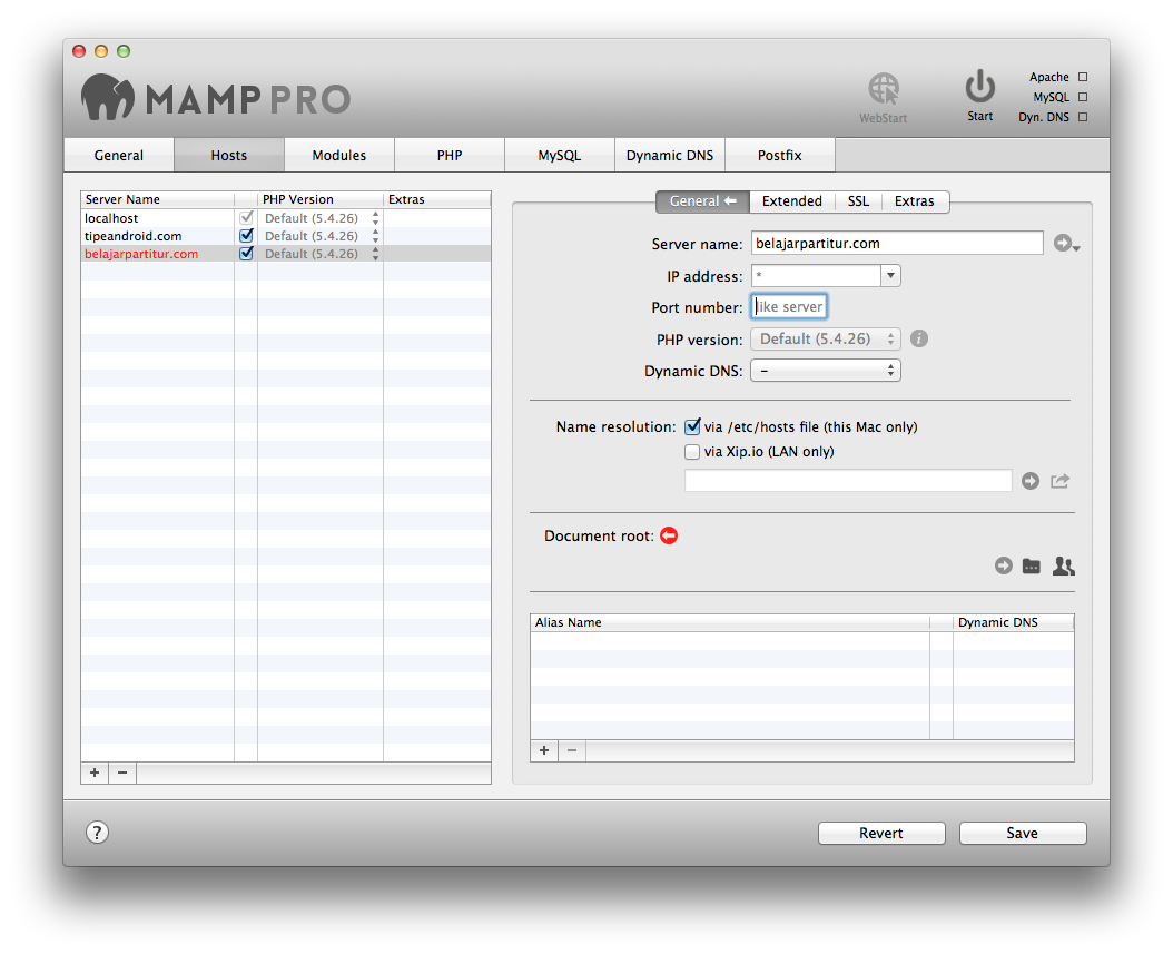 Document root mamp