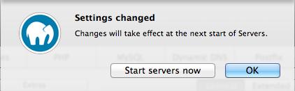 Warning to save MAMP configuration
